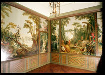 Painted wall panels in the Salon of Gille Demarteau by Francois Boucher