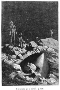 Illustration from 'From the Earth to the Moon' by Jules Verne Paris by Emile Antoine Bayard