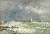Entrance to the Harbour at Le Havre in Stormy Weather by Eugene Louis Boudin