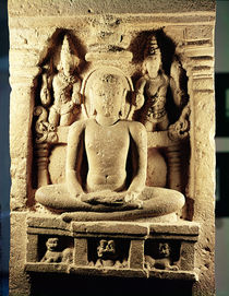 Relief depicting Tirthankara Mahavira in meditation by Indian School