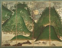 Spring Landscape with Sun, part of a six panel folding screen von Japanese School