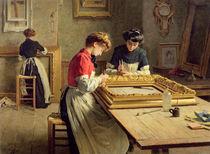 Interior of a Frame Gilding Workshop von Louis Emile Adan
