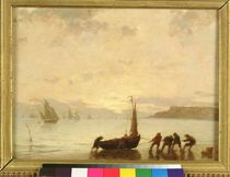 Return from Fishing with Setting Sun by Eugene Louis Boudin