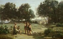 Homer and the Shepherds in a Landscape von Jean Baptiste Camille Corot