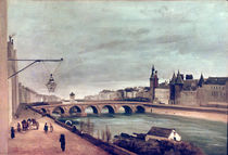 View of the Pont au Change from Quai de Gesvres by Jean Baptiste Camille Corot