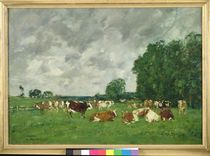 Pasture in Fervaques or, Cows in a Pasture by Eugene Louis Boudin