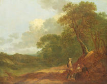 Wooded Landscape with a Man Talking to Two Seated Women von Thomas Gainsborough