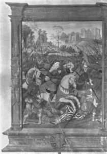 Fol.1 Francois I charging at the battle of Marignan by French School