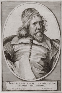 Portrait of Inigo Jones engraved by Wenceslaus Hollar 1655 von Anthony van Dyck