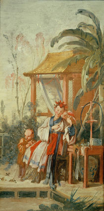 A Chinese Garden, study for a tapestry cartoon von Francois Boucher