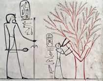 Isis metamorphosed into a sycamore tree suckling Tuthmosis III by Egyptian 18th Dynasty