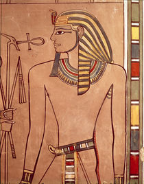 Amenhotep II with an ankh being raised to his lips by Egyptian 18th Dynasty