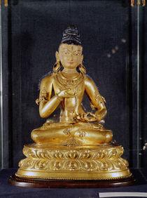 Adibuddha Vajrasattva seated in meditation by Tibetan School