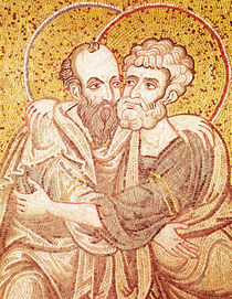 SS. Peter and Paul Embracing by Byzantine School
