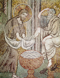 Jesus and St. Peter, detail from Jesus washing the feet of the apostle by Byzantine School