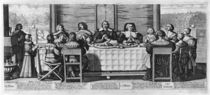 A Protestant family blessing the meal von Abraham Bosse