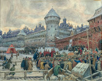 Ancient Moscow, departure after a fight by Apollinari Mikhailovich Vasnetsov