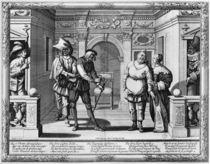 Comedians at the theatre of Hotel de Bourgogne von Abraham Bosse