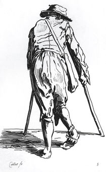 Beggar on his crutches, from behind by Jacques Callot