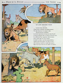 The Ageing Lion, from the 'Fables' by Jean de la Fontaine 1906 by Benjamin Rabier