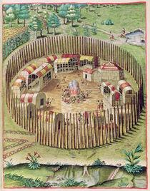 The Fortified Town of Pomeiooc von John White