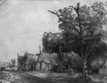 Landscape with Three Cottages von Rembrandt Harmenszoon van Rijn