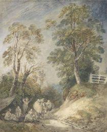 Wooded Landscape with Gypsy Encampment von Thomas Gainsborough