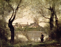 View of the Town and Cathedral of Mantes Through the Trees by Jean Baptiste Camille Corot