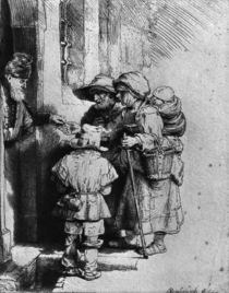 Beggars on the Doorstep of a House von Rembrandt Harmenszoon van Rijn