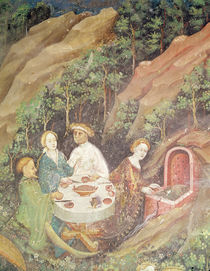 The Month of May, detail of a picnic barbecue von Bohemian School