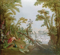 Lake with swans, a flamingo and various birds von Francois Boucher