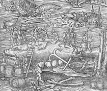 Whale fishing, Illustration from 'Cosmographie Universelle' by French School