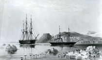 HMS Assistance in Tow of Pioneer passing John Harrow Mount by English School