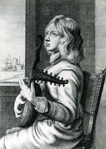Baroque Lute player von Wenceslaus Hollar