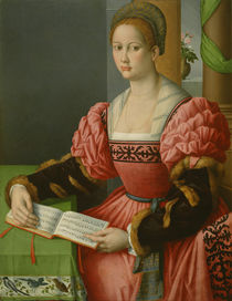 Portrait of a Woman with a Book of Music von Francesco Ubertini, Il Bacchiacca