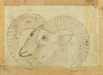 Detail of a ram from 'Transporting Ceramics by Chinese School