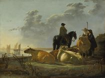 Peasants and Cattle by the River Merwede von Aelbert Cuyp