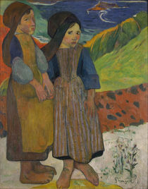 Little Breton Girls by the Sea by Paul Gauguin