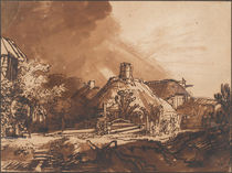 Cottages before a stormy sky by Rembrandt Harmenszoon van Rijn