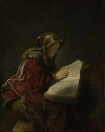 An Old Woman Reading, Probably the Prophetess Hannah by Rembrandt Harmenszoon van Rijn
