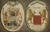 The Arms of the Dutch East India Company and of the Town of Batavia by Jeronimus Becx