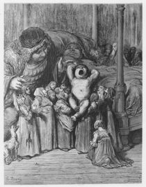 The birth of Gargantua, illustration from 'Gargantua and Pantagruel' by Gustave Dore