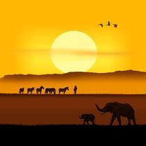 Am Morgen in der afrikanischen Savanne Nr. 2 quadratisch von Monika Juengling