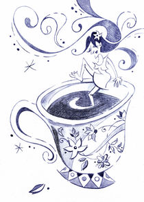 Kaffee - Arte Cafe - Coffee Cup Drawing by nacasona