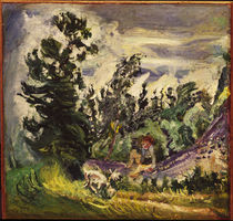 Ch. Soutine, Landscape with little girl and goat / painting by AKG  Images