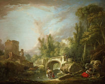 F.Boucher, River with Ruin & Bridge by AKG  Images