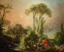 F.Boucher, River Landscape w. Temple by AKG  Images