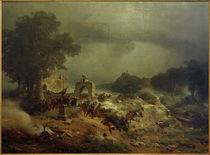 Landschaft aus d. 30jähr. Krieg / Lessing von AKG  Images