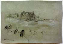 M.Liebermann, Strandhäuser, im Vordergrund Ziegen von AKG  Images