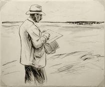 M.Liebermann, Selbstbildnis, im Freien zeichnend by AKG  Images